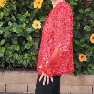Red dressy jacket, accessory•beaded, ribboned•l/xl